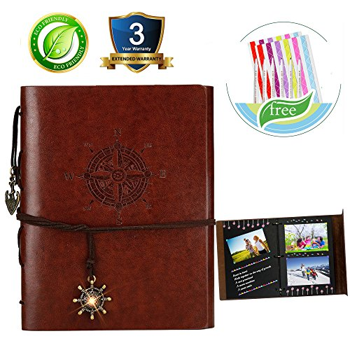 Scrapbook Photo Album Retro DIY Anniversary Mermory Guest Book Handmade Leather Gift Box for Baby Boys Girls Men Women Lover Friends Black Pages Craft Paper 30 Sheets Metallic Marker Pen (Anniversary Scrapbooking)