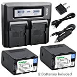 Kastar Fast Dual LCD Charger + 2x Battery for JVC SSL-JVC70 SSL-JVC75 BN-S8I50 and JVC GY-HMQ10 GY-LS300 GY-HM200 GY-HM200SP SPORTS GY-HM600 GY-HM620U GY-HM650 GY-HM660U GY-HM660SC DT-X Monitors