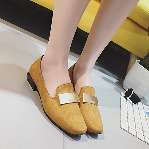 T-JULY Womens Square Toe With Metal Decoration Low Heels Fashion Comfort Loafers Shoes Brown cPpVyKq4l6