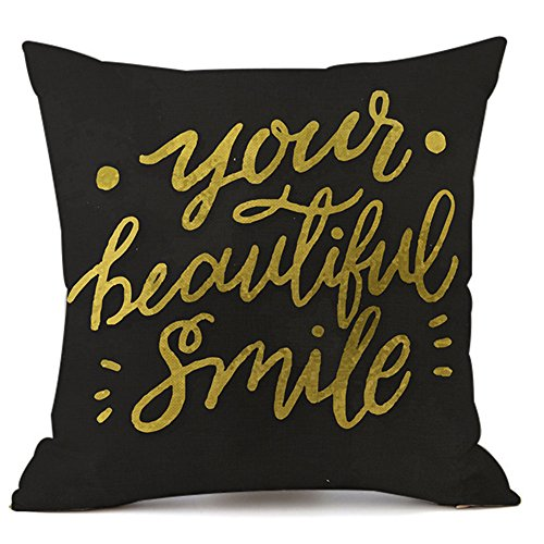 KACOPOL Inspirational Quote Throw Pillow Cover Cotton Linen Home Decor Colorful Letters Pillowcase Cushion Cover with Word for Sofa Square 18x18 Inches (Your Beautiful Smile) ()