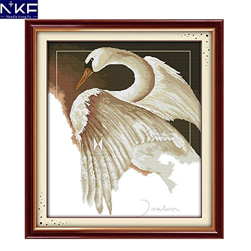 Zamtac A Swan Cross Stitch Kits Printing for 14CT or 11 CT Count Fabric Stamped Fabric Cross-Stitch Kit Embroidery Needlework - (Cross Stitch Fabric CT Number: 11CT Stamped Fabric)