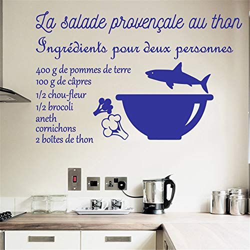 Removable Wall Decals Inspirational Vinyl Wall Art Cooking Recipe La Salade Provençale Au Thon for Kitchen Dining Room