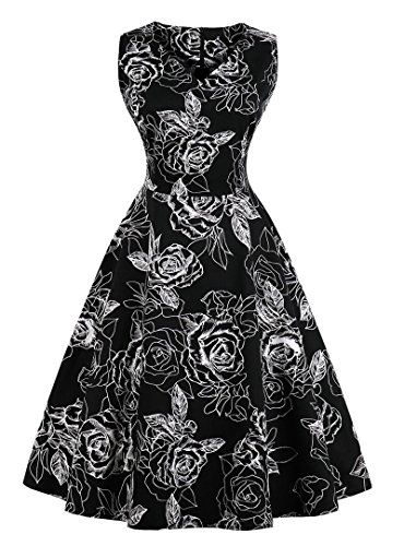 VERNASSA 1950s Vestidos para Mujer, 50s Vestido Retro con Estilo del Oscilación de la Tarde de la Vendimia del Baile de Fin de Curso del Club del Coctel del Algodón del Estilo de Hepburn 1620-negro