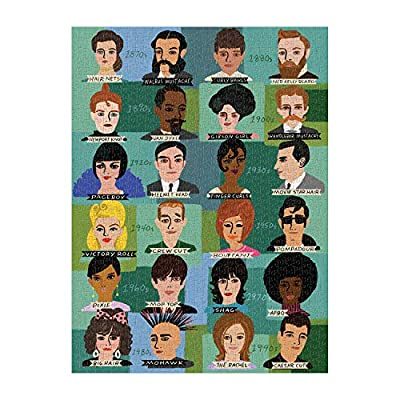 """Galison History of Hairdos Puzzle, 1, 000 Pieces, 20"""" x 27'' – Illustrations of 24 Well-Known Hair Styles from 1870-1990 - Thick, Sturdy Pieces – Challenging, Makes a Great Gift, Multicolor: Toys & Games"""