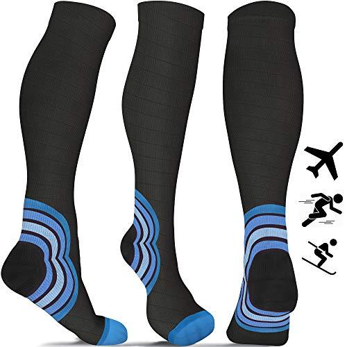 Flight Socks for Men and Women - Best Compression Socks for Running Skiing Travel Athletics, Blue L/XL