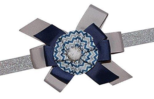 WD2U Girls Deluxe Navy Silver Chevron Football Colors Hair Bow Stretch Headband (Dallas Cowboy Toddler Cheerleader Costume)