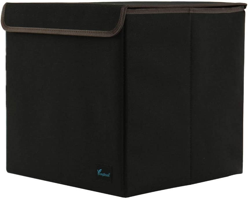 PiccoCasa Storage Cube Bin, Collapsible Storage Basket Laundry Bin Organizers with Lid, Linen Fabric Foldable Box for Home Office Shelves Closet,13x13.6x13 Inch, Black