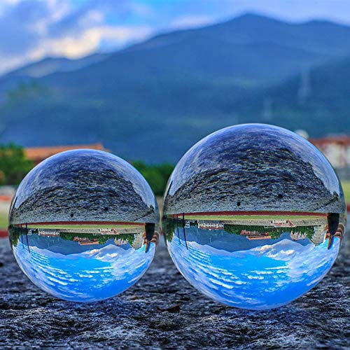 "SunAngel 80mm & 60mm Crystal Ball Bundle (3"" and 2.4""); Optical Glass Reflective Spheres, K9 Crystal Sphere Ball, Decor Photography Ball, Clear Contact Juggling Ball, No Stand (80MM & 60MM)"