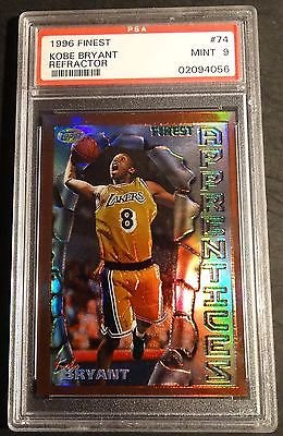 1996 KOBE BRYANT TOPPS FINEST REFRACTOR RC ROOKIE PSA 9 MINT POP 128 (733)