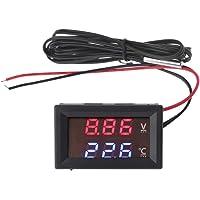 siwetg Termómetro del Voltímetro del Medidor De Temperatura del Agua Y El Voltaje del Automóvil De La Pantalla LED De…