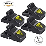 Rat Trap, Big Mouse Snap Trap, Mice Rodent Rat Killer Catcher- Effective Sensitive Reusable Durable and Sanitary traps (4 Pack Big)