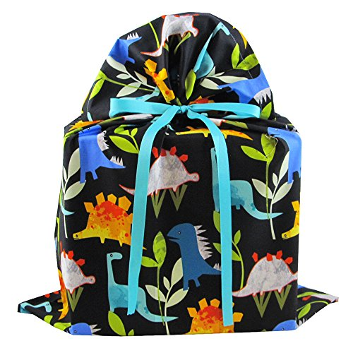 Dinosaurs on Black Reusable Fabric Gift Bag for Birthday or Other Occasion (Large 20 Inches Wide by 26.5 Inches High)