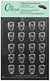 CybrTrayd H175 Bite Sized Skulls Chocolate Mold (Bundle of 3), Clear