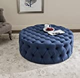 Blue Tufted Ottoman Coffee Table Safavieh Mercer Collection Charlene Ottoman, Navy