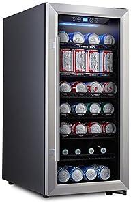 Beer fridge with transparent front door