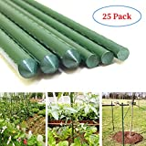 G-LEAF Sturdy Metal Garden Stakes 5 ft Plastic Coated Steel Tube Plant Sticks for Tomato,Cucumber,Strawberry, Bean,Tree,Pack of 25