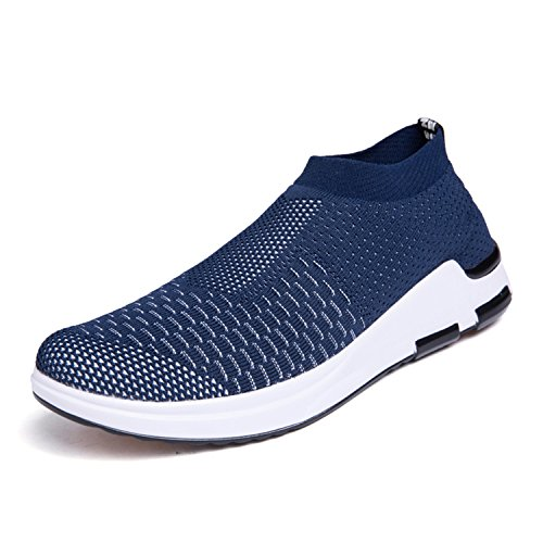 YALOX Männer leichte atmungsaktive Laufschuhe athletische Turnschuhe Mode lässig zu Fuß Slip auf Schuhe Marine-3