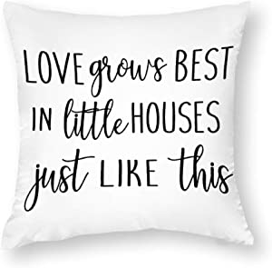 EricauBird Love Grows Best in Little Houses Just Like This Throw Pillow Cover, Decorative Home Cotton Pillowcase, Indoor Pillow Cover for Sofa Bedroom Couch, Personalized Housewarming,20x20