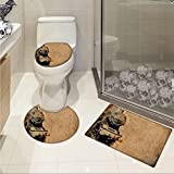 jwchijimwyc Steam Engine U-shaped Toilet Floor Rug set Antique Old Iron Train Aged Sepia Grunge Style Design Industrial Theme Artsy Print 3 Piece Bathroom Rug Set Brown