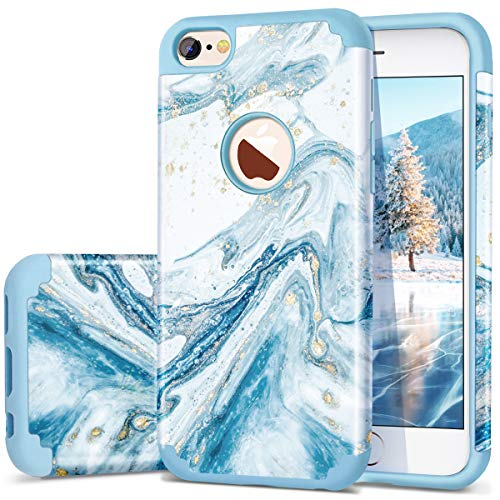 iPhone 6S Case, iPhone 6 Case, Fingic Marble Blue Bling Glitter Design Hybrid Flexible Soft Rubber Hard PC Bumper Shockproof Full Body Protective Phone Case Cover for iPhone 6S / iPhone 6 - Blue Blue Hard Rubber Case