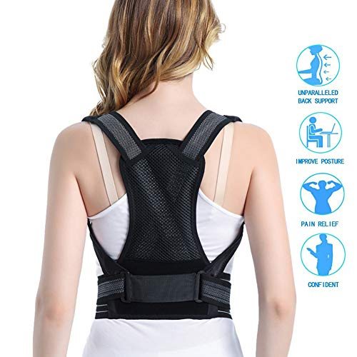 LHHX Posture Corrector for Women Men Kyphosis Brace Adjustable Scoliosis Back Humpback Correction Belt Students Adult Support Body Wellness Upright Go Trainer Therapy Corrective BlackXS