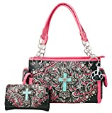 HW Collection Western Imitation Turquoise Cross Flowers Concealed Carry Handbag and Crossbody Wallet (Black Hot Pink)