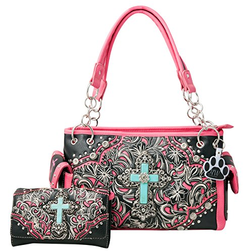HW Collection Western Imitation Turquoise Cross Flowers Concealed Carry Handbag and Crossbody Wallet (Black Hot Pink) by HW Collection