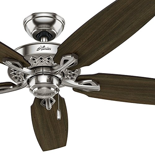 Hunter 52in Brushed Nickel Finish Traditional Ceiling Fan with 5 Dark Walnut Cherry Reversible Composite Blades Renewed