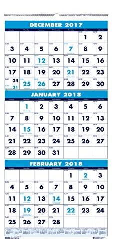 House of Doolittle 2018 Wall Calendar, Three-Month Vertical, 8 x 17 Inches, December - January (HOD3646-18) (Hanging Recycled Calendar)