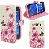 SAMSUNG GALAXY ACE 4 WHITE WITH PINK FLOWER SWIRL AND BUTTERFLY CASE PRINTED DESIGN STYLE PRINT LEATHER BOOK FLIP CASE COVER POUCH FROM GADGET BOXX