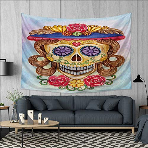 Anhuthree Day of The Dead Tapestry Wall Hanging 3D Printing