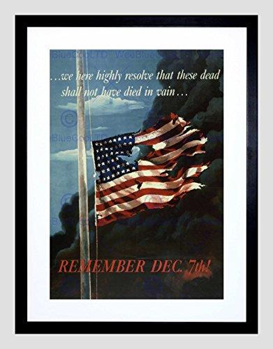 PROPAGANDA WWII WAR PEARL HARBOR FLAG STARS STRIPES FRAMED ART PRINT (Pearl Harbor Flag)