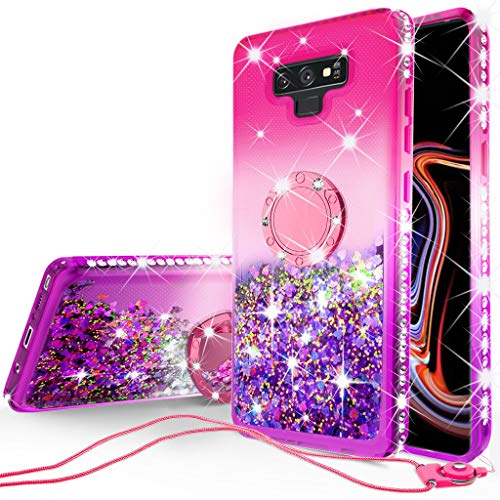 - SOGA Rhinestone Glitter Bling Liquid Floating Quicksand Cute Phone Case Compatible for Samsung Galaxy Note 9 Case with Embedded Metal Ring for Magnetic Car Mounts Include Lanyard - Purple on Pink