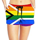 Women's Flag of South Africa Summer Quick Dry Swim Trunk Casual Breathable Short Pants with Pockets