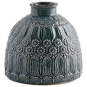 Little Green House Ceramic Vase, Blue