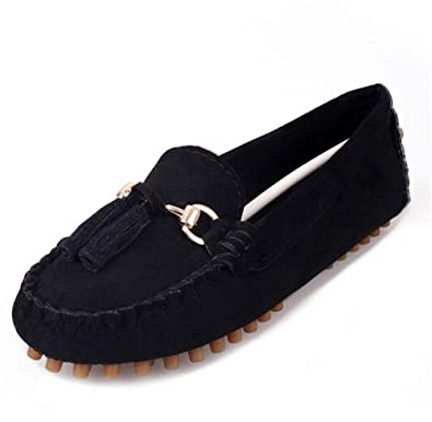 52cf34aa5ea Plus Size Fashion Women Casual Genuine Leather Shoes Driving Flat Loafers  Soft Breathable Boat Shoes (