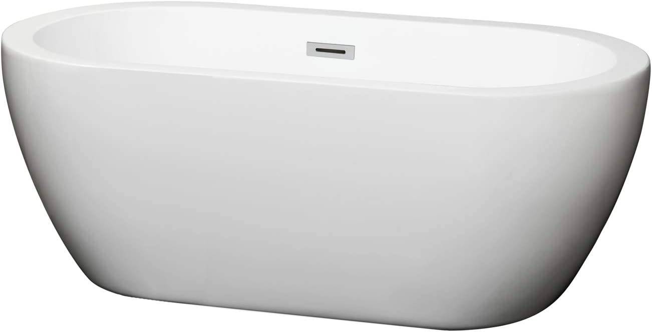 Wyndham Collection Soho 60 inch Freestanding Bathtub in White with Polished Chrome Drain and Overflow Trim