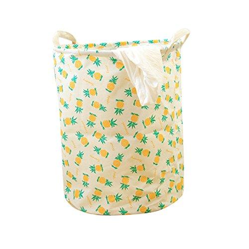 Laundry Basket Cotton & Linen Waterproof Collapsible Pineapple Print Laundry Hamper Storage for Bedroom Nursery Dorm or Closet 13.5