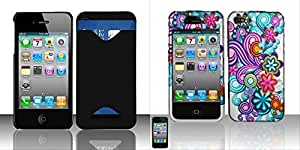 Combo pack Rubberized Black ID Cover for APPLE iPhone 4 And Rubberized Purple/Blue Flowers Design for APPLE iPhone 4