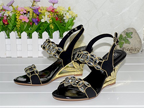 Unicrystal - Sandalias de vestir de Material Sintético para mujer negro