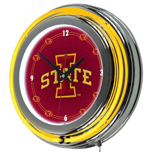 Trademark Global 14 in. Iowa State University Neon Wall Clock - Iowa State Neon Clock