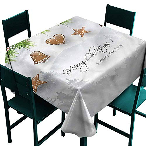 - DONEECKL Oil-Proof and Leak-Proof Tablecloth Christmas Gingerbread Fir Tree for Kitchen Dinning Tabletop Decoration W50 xL50