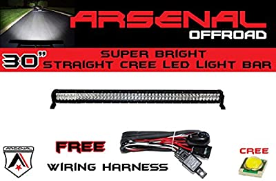 "#1 30"" Arsenal Offroad CREE LED Light Bar 30"" of LED's Flood/Spot Combo Beam-3w LED's 180w 11,250 Lumen, Off Road, Polaris RZR, UTV, Trucks, Raptor, Jeep, Bumper Rock, FREE Wire Harness"