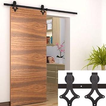 Puerta corredera Door Hardware Kit negro para puerta individual hardware Track Kit, clásico, de acero negro (estrella 183): Amazon.es: Hogar