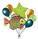 7pc Tropical Fish Dot Balloon Bouquet Ocean Sea Happy Birthday Baby Shower Green