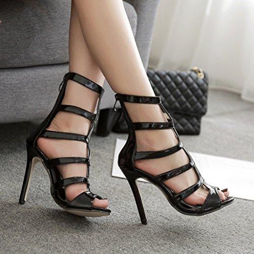 Tamaño europea frescas botas tacones long245mm de ALUK altos Shoes zapatos mujer sexy Negro 39 huecas estadounidense Moda Color Negro Zapatos zCxqxIZ
