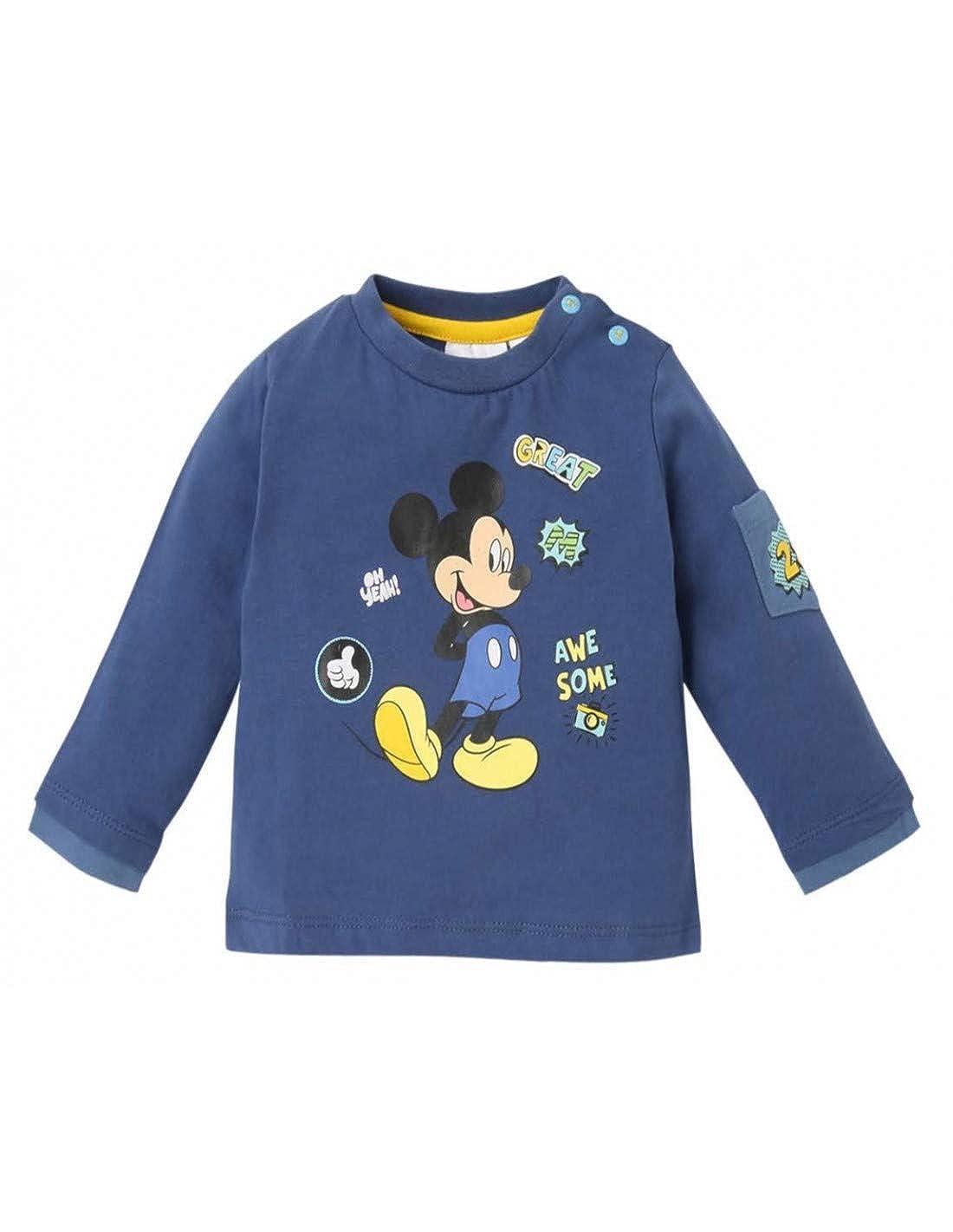 T-Shirt Manches Longues b/éb/é gar/çon Mickey Marine de 3 /à 24mois