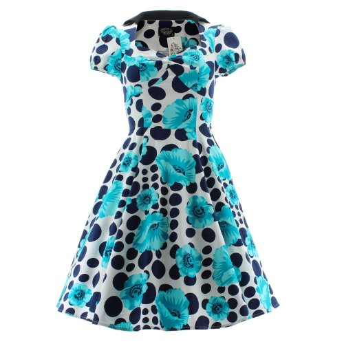 amp;r Bianco blu Floral Long H London Dot 5039 Dress kXOZuTiP