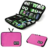 Travel Bag for Cables and Chargers,Space Saving Electronics Accessories Storage Bag,Travel Gadget Organizer Bag for Phone Cable Cords Accessory Products(M, Pink)