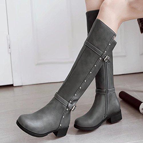 AIYOUMEI Damen Winter Blockabsatz Chunky Heel Kniehohe Stiefel mit Schnalle und Nieten Bequem Modern Knee High Boots Grau